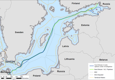 Potek drugega severnega toka (shema: Nordic Stream 2)