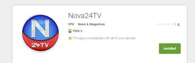 Aplikacija Nova24tv za Android. Foto: Screenshot Google Play