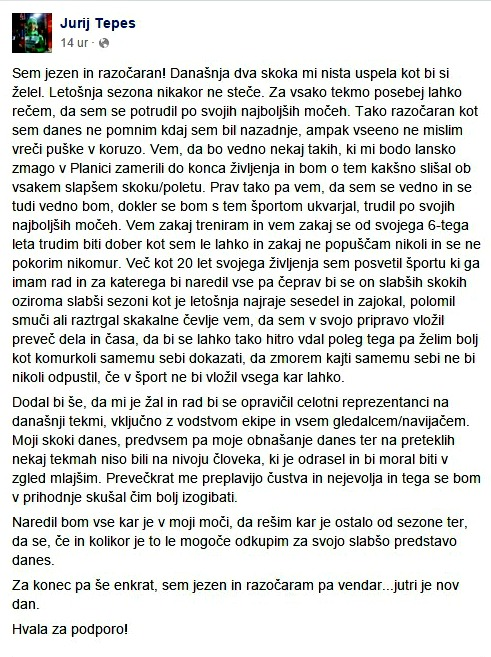 Post Jurija Tepeša na facebooku