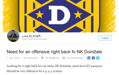 Oglas NK Domžale. Foto: Linked In/Printscreen