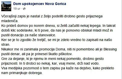 Današnji zapis direktorja Doma upokojencev Nova Gorica o tem zakaj je v javnost spravil zgodbo in o tem kako prekleto nam primanjkuje dobrega (foto: PrtSc/facebook)