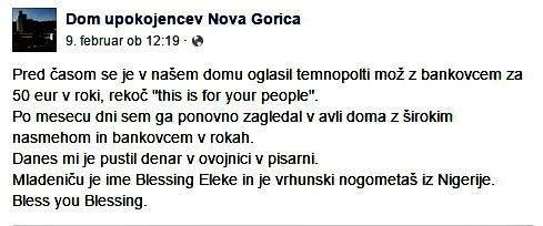 Zapis direktorja Doma upokojencev Nova Gorica Bojana Stanteta o tem kako je Blessing Eleke podarjal denar (foto: PrtSc/facebook).