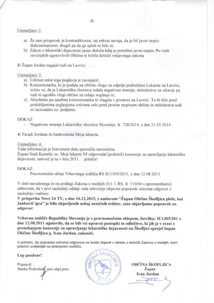Popravek članka: Župan občine Škofljica pleše, kot Janković igra 2
