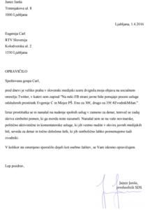 Ekskluzivno z dokumentom: Janez Janša se je opravičil Eugeniji Carl 1