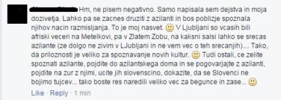 Drugi del zapisa, kjer odgovarja vsem, ki obsojajo njeno pisanje. Foto: Facebook