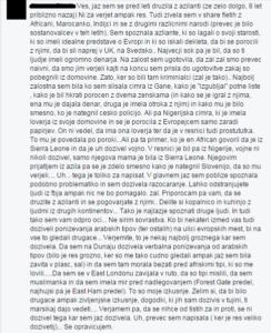 Facebook zapis anonimne Slovenke. Foto: Facebook