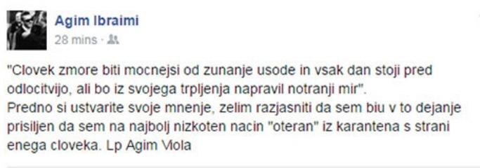 Zapis Ibraimija na facebooku (foto: facebook/Agim Ibraimi).