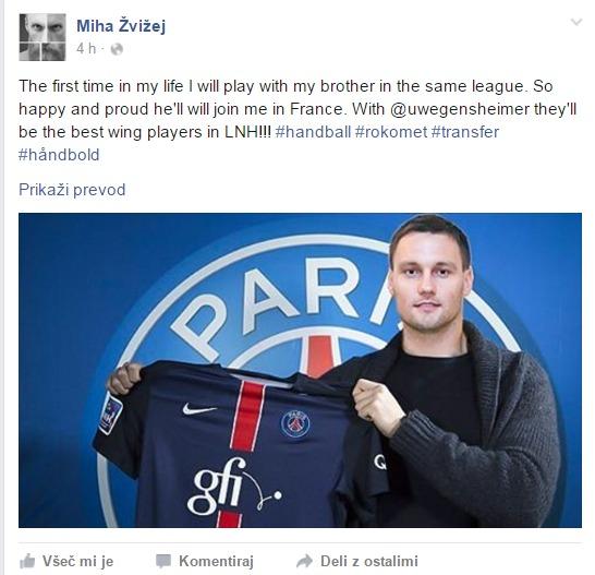 Lukovega prihoda v PSG se je razveselil tudi njegov brat Miha. (foto: facebook).