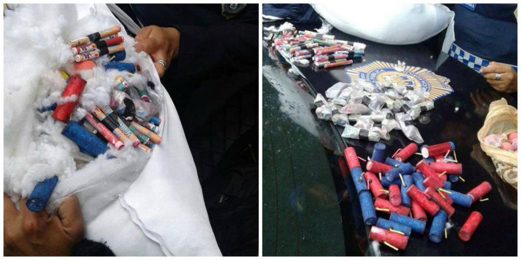 Policija je pri ženski zasegla večjo količino pirotehničnih sredstev (foto: facebook).