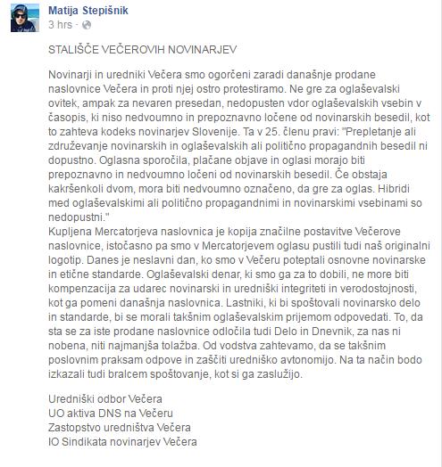 Pismo urednikov in novinarjev Večera (Foto: Facebook)