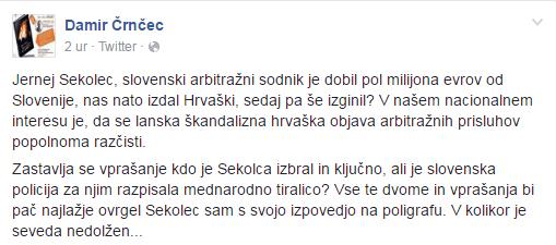 Je Sekolec pobegnil, ker je sabotiral arbitražo na račun Hrvatov? 1