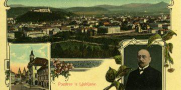 Ljubljanska razglednica iz časa Ivana Hribarja