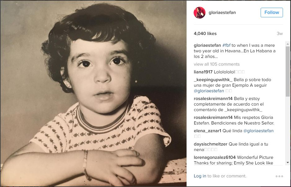 Gloria Estefan pri dveh letih (foto: epa)