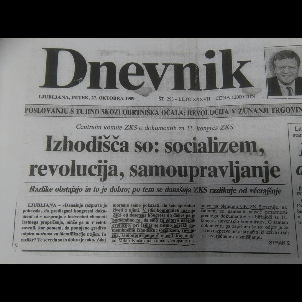 Časopis Dnevnik, ki je izšel 27. oktobra 1989