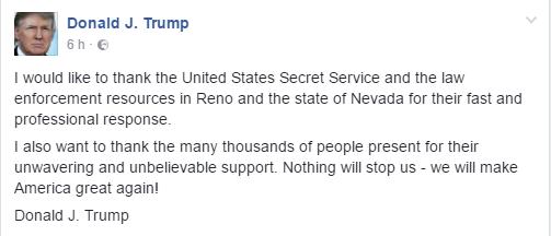 Trumpov odziv na dogodek v Renu na socialnem omrežju Facebook