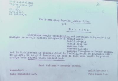 Naročilo župniku Žužku, ki so ga prav tako ubili partizani. (printscreen)