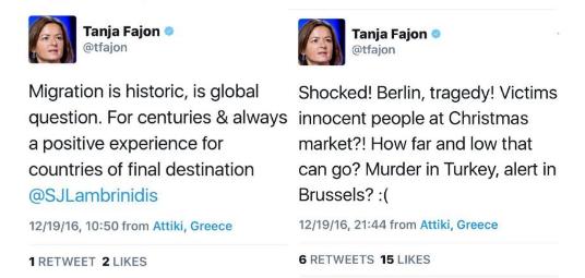 Stališča Fajonove pred in po terorističnih napadih.