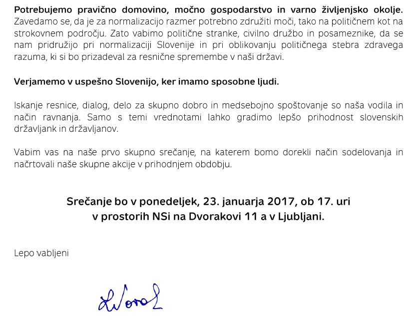 Vabilo Nove Slovenije.