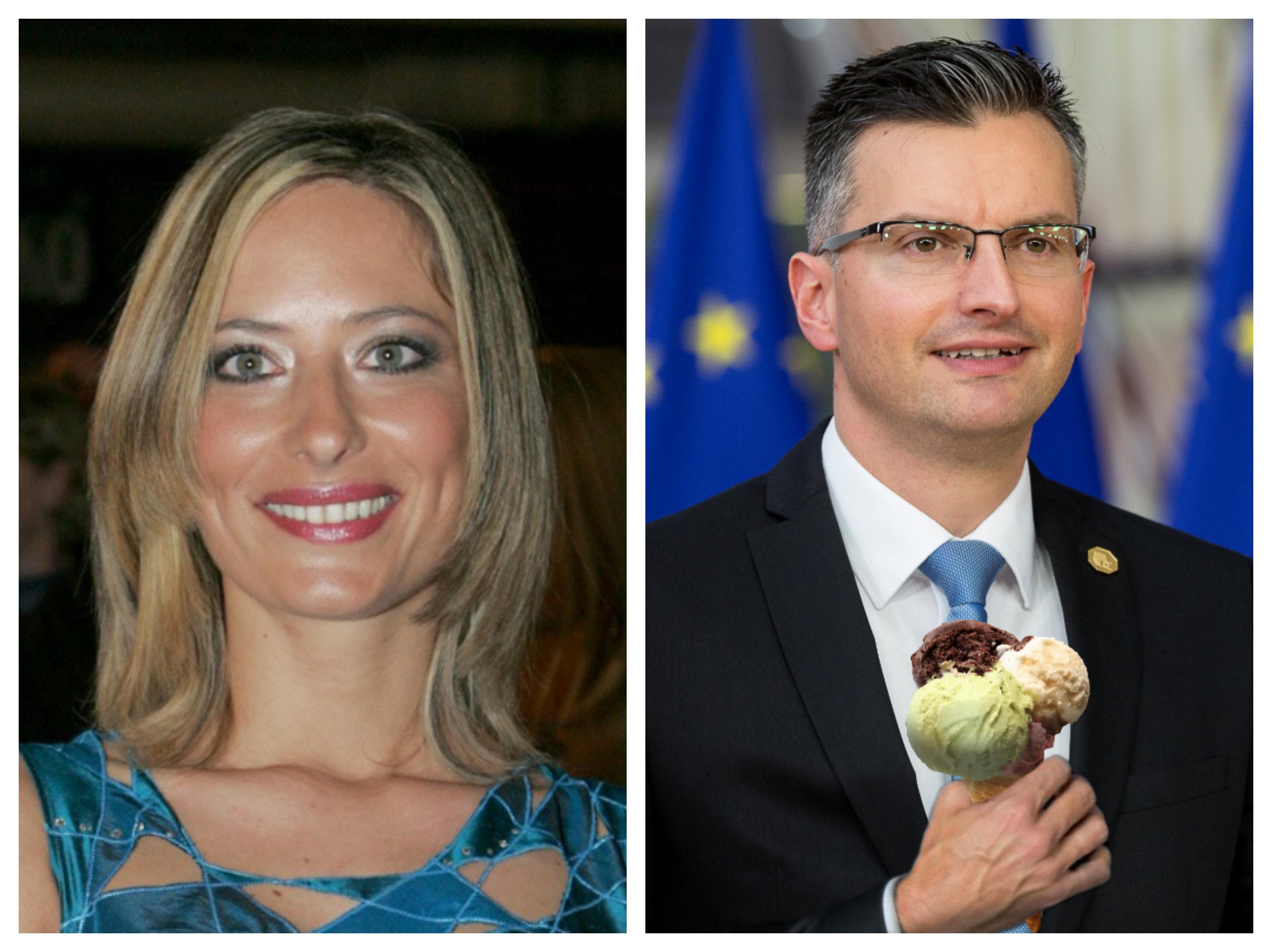 Marjan Šarec in Nataša Hribar (Foto: Tarča RTV Slo in STA)