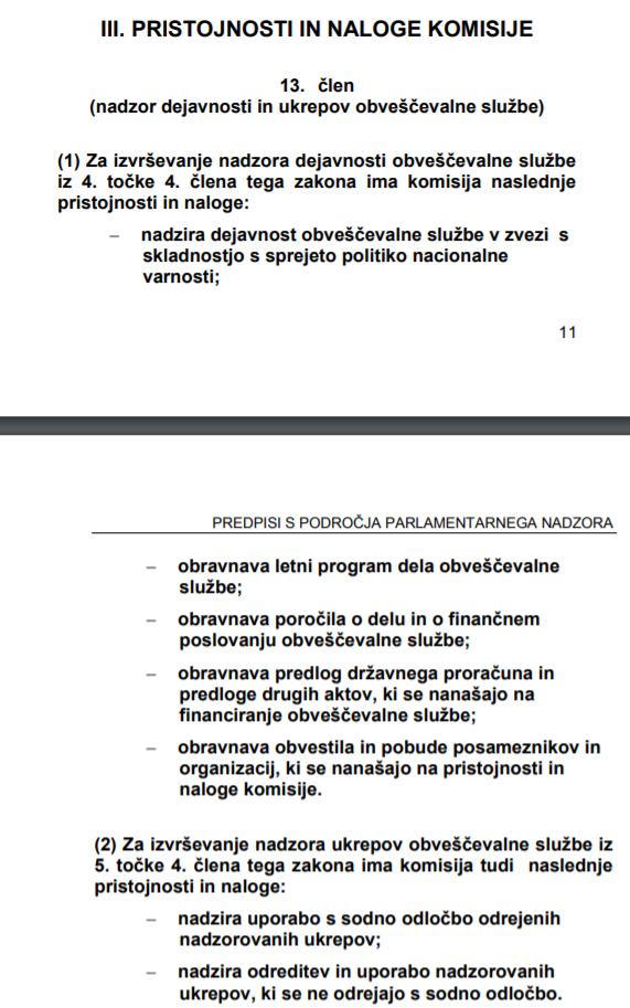 13. člen zakona o KNOVS-u (vir Državni zbor Republike Slovenijie)
