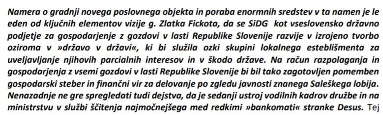 """Razkriti del besedila, kjer je stranka DESUS za prilastitev SiDG imenovana kot """"bankomat"""" omenjene družbe."""