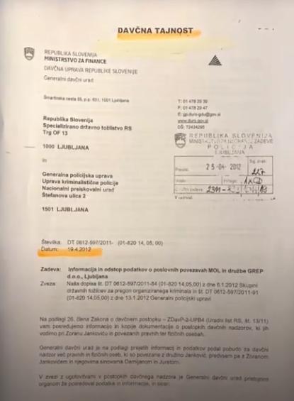 Tajni davčni dokument, ki razkriva mahinacije družine Jankovič.(vir Tarča RTV SLO)