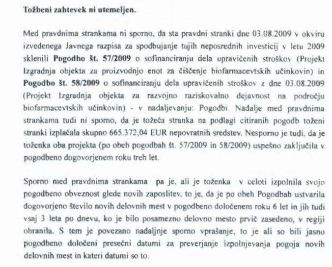 Dokaz sodišča prvostopenjska sodišča v Novi Gorici, ki govori v prid podjetju BIA Separation (vir prvostopenjsko sodišče v Novi Gorici))