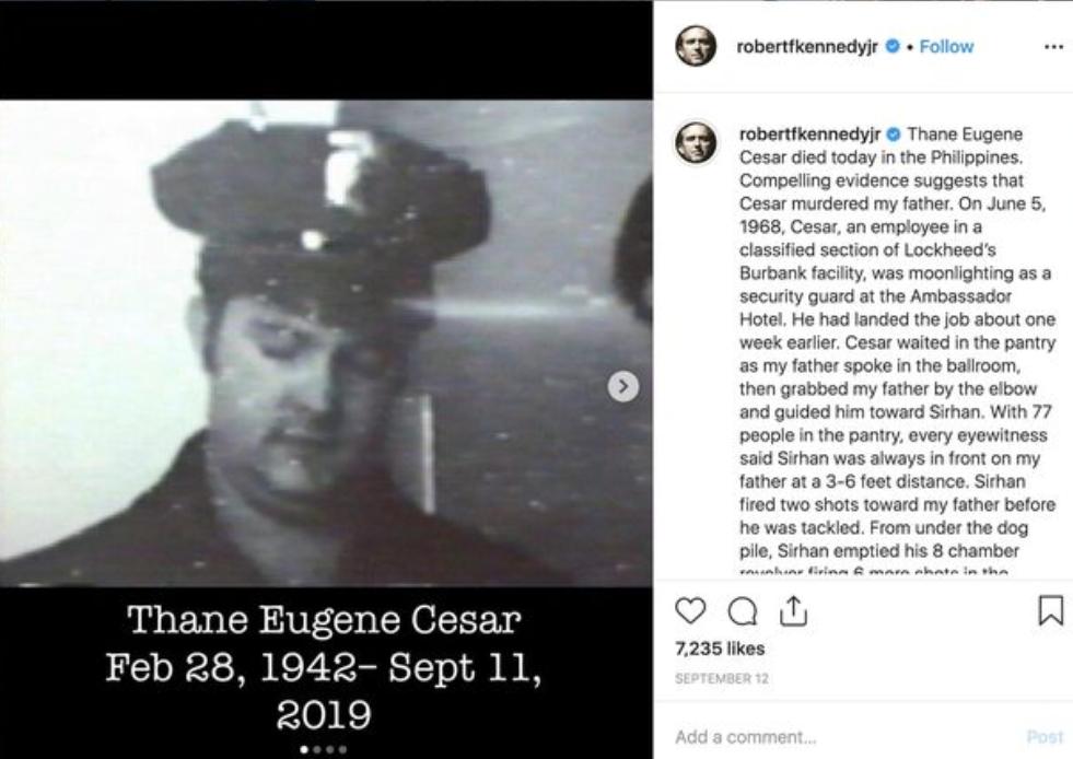Zapisana resnica Roberta Kennedyja mlajšega o morilcu svojega očeta (vir Instagram)