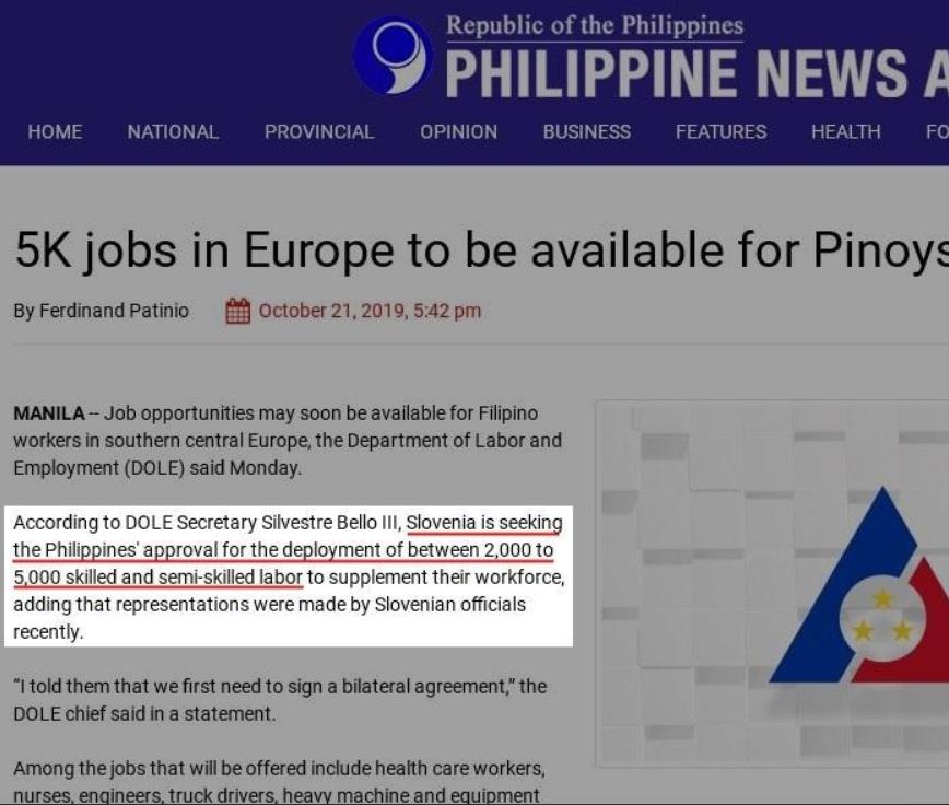 Dokaz filipinske vlade, da je do stika in pogovorov glede zaposlovanja filipinskega prebivalstva na slovenskih tleh. (vir vlada Republike Filipini)