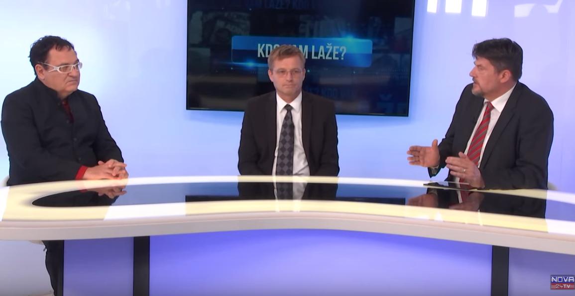 Miloš Čirič, Peter Jančič in Boris Tomašič v oddaji Kdo laže? (vir Nova24tv))