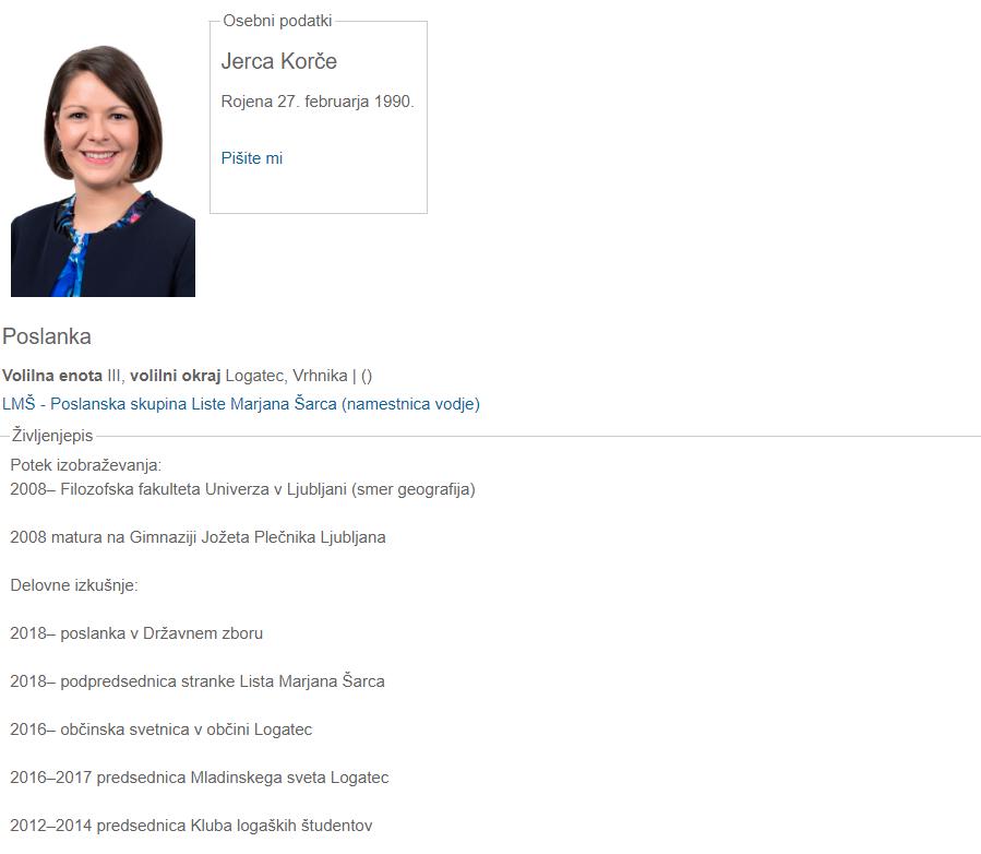 Jerca Korče in njena uradna predstavitev na strani Državneha zbora.(vir Državni zbor)