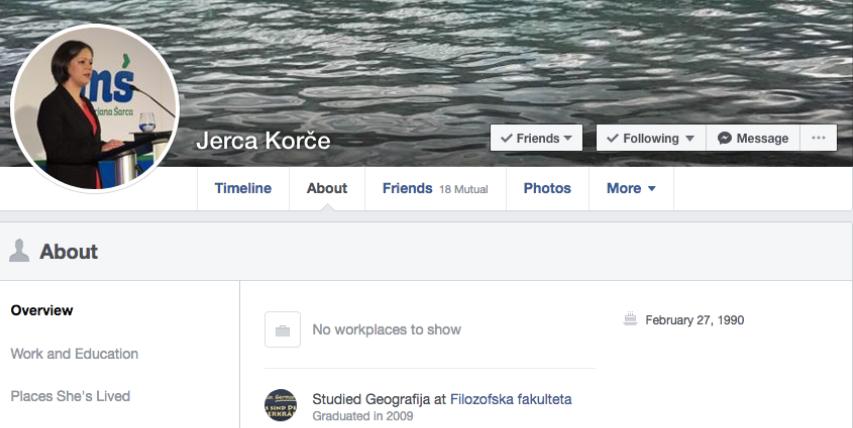 Jerca Korče in pričetek njenega študija na njenem Facebook profilu.(vir Facebook)
