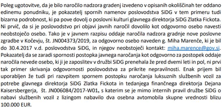 Sporno navajanje izmišljene elektronske pošte in neutemeljen potratni nakup dveh osebnih avtomobilov v vrednosti 100 tisoč evrov.