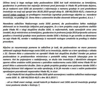 Izsek iz anonimke žvižgača o kršenju sklepa nadzornega sveta SiDG, da zavrnejo načrt direktorja družbe Zlatka Fickota za postavitev nove stavbe. (foto: Anonimna pismo žvižgača o nepravilnostih SiDG)