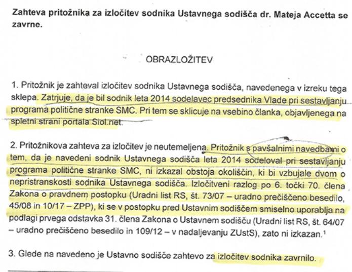 Obrazložitev sodbe Ustavnega sodišča, kjer piše, da Acceto ni sodeloval kot pisec volilnega programa SMC-ja. (vir Požareport)