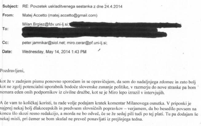 Del elektronskega sporočila ustavnega sodnika dr. Matej Acceto, kjer se opredeli kot podpornika civilne sfere politike stranke SMC-ja. (vir Požareport)