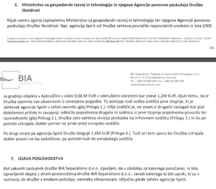 Pojasnilo podjetja BIA Separations glede neutemeljenih nagajanj državnih institucij. (vir prvostopenjsko sodišče v Novi Gorici))