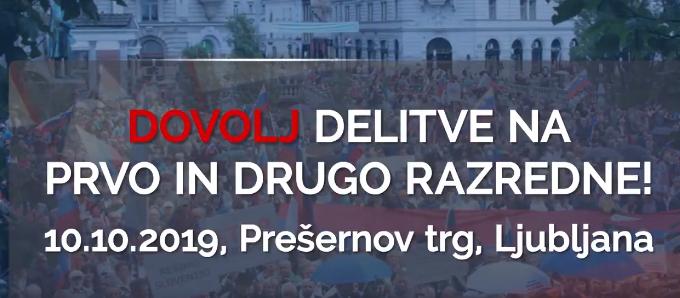 Protest proti Šarčevi vladi dne 10.10.2019 ob 19.uri na Prešernovem trgu (twiter)