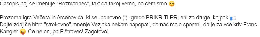 Eden izmed uporabnikov socialnih omrežij, da gre v resnici za skupno sodelovanje Arsenoviča in Večera. (vir Facebook)