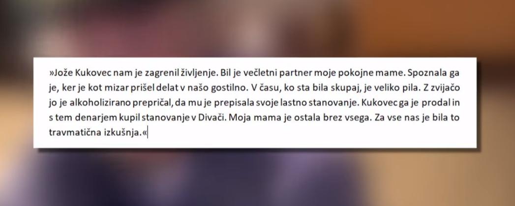 Izpoved Maje Pitarič. (Foto: Nova24tv))