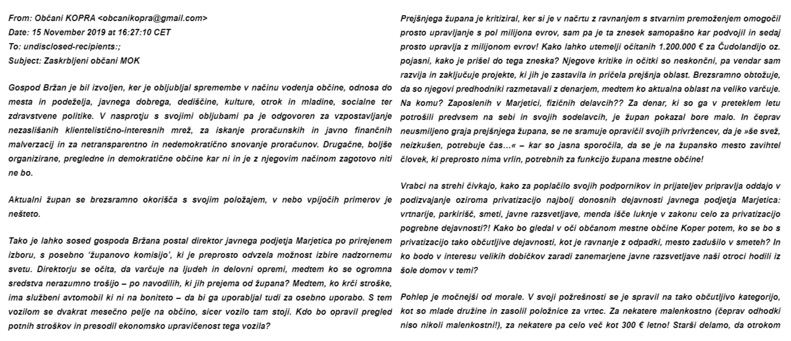Prvi del anonimke (Foto: Občani KOPRA in zaposleni v Kopru in ostalih javnih podjetjih)