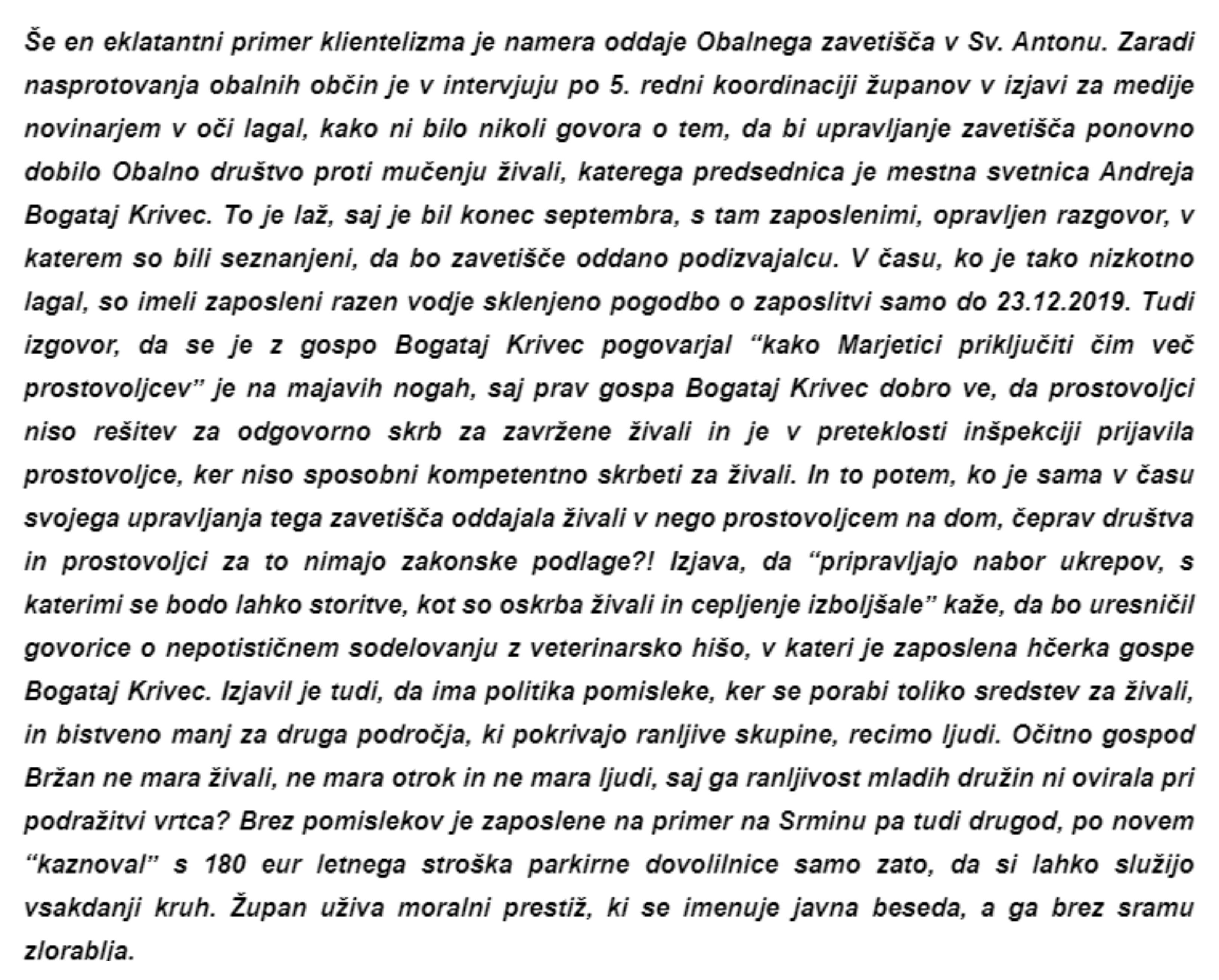 Drugi del anonimke o nepravilnostih koprskega župana Aleša Bržana. (Foto: Prvi del anonimke (Foto: Občani KOPRA in zaposleni v Kopru in ostalih javnih podjetjih)