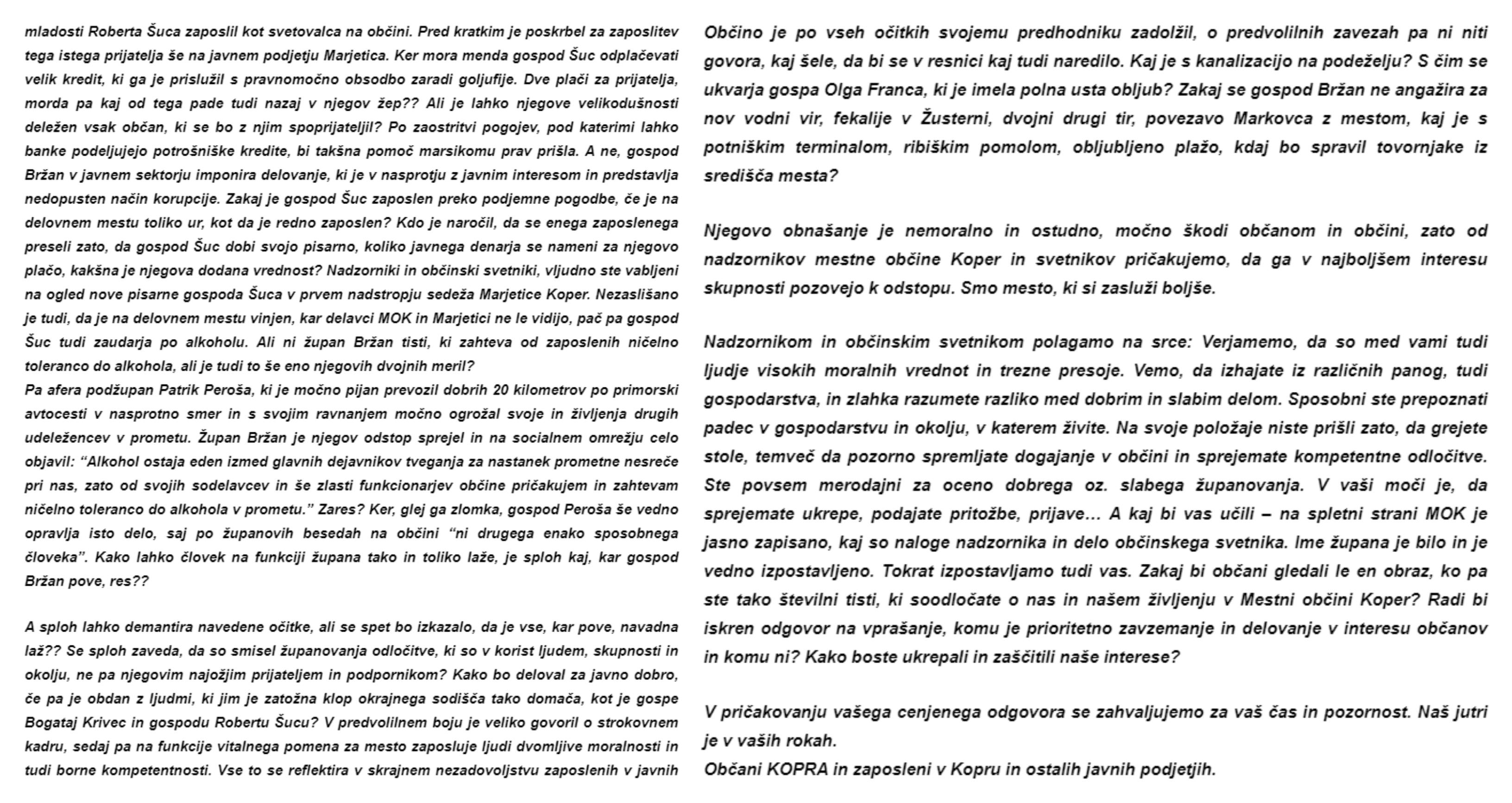 Tretji del anonimke o nepravilnostih koprskega župana Aleša Bržana. (Drugi del anonimke o nepravilnostih koprskega župana Aleša Bržana. (Foto: Prvi del anonimke (Foto: Občani KOPRA in zaposleni v Kopru in ostalih javnih podjetjih)