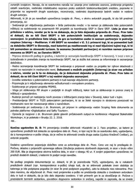Druga stran obremenilnega poročila MGRT glede vloge Aleksandre Pivec v projektu SRIP. (Foto: MGRT)