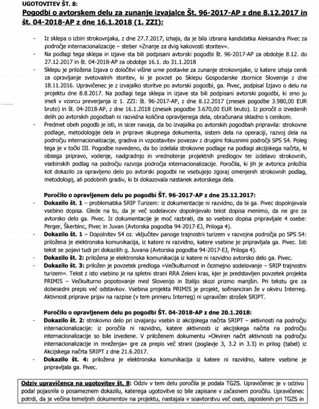 Prva stran obremenilnega poročila MGRT glede vloge Aleksandre Pivec v projektu SRIP. (Foto: MGRT)