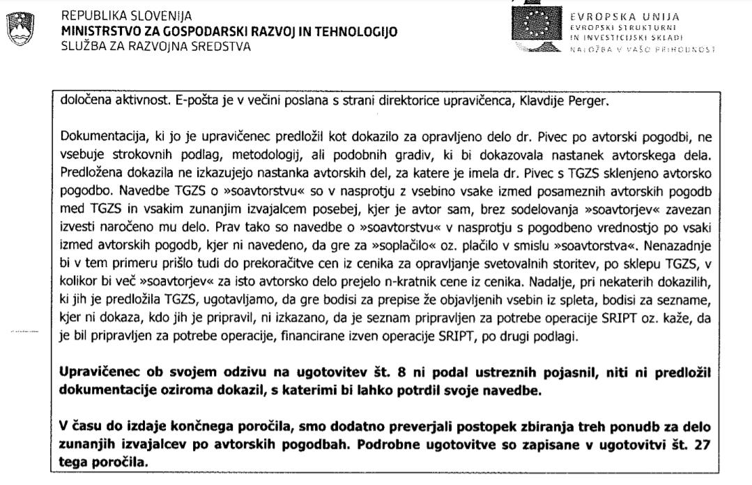 Tretja stran obremenilnega poročila MGRT glede vloge Aleksandre Pivec v projektu SRIP. (Foto: MGRT)