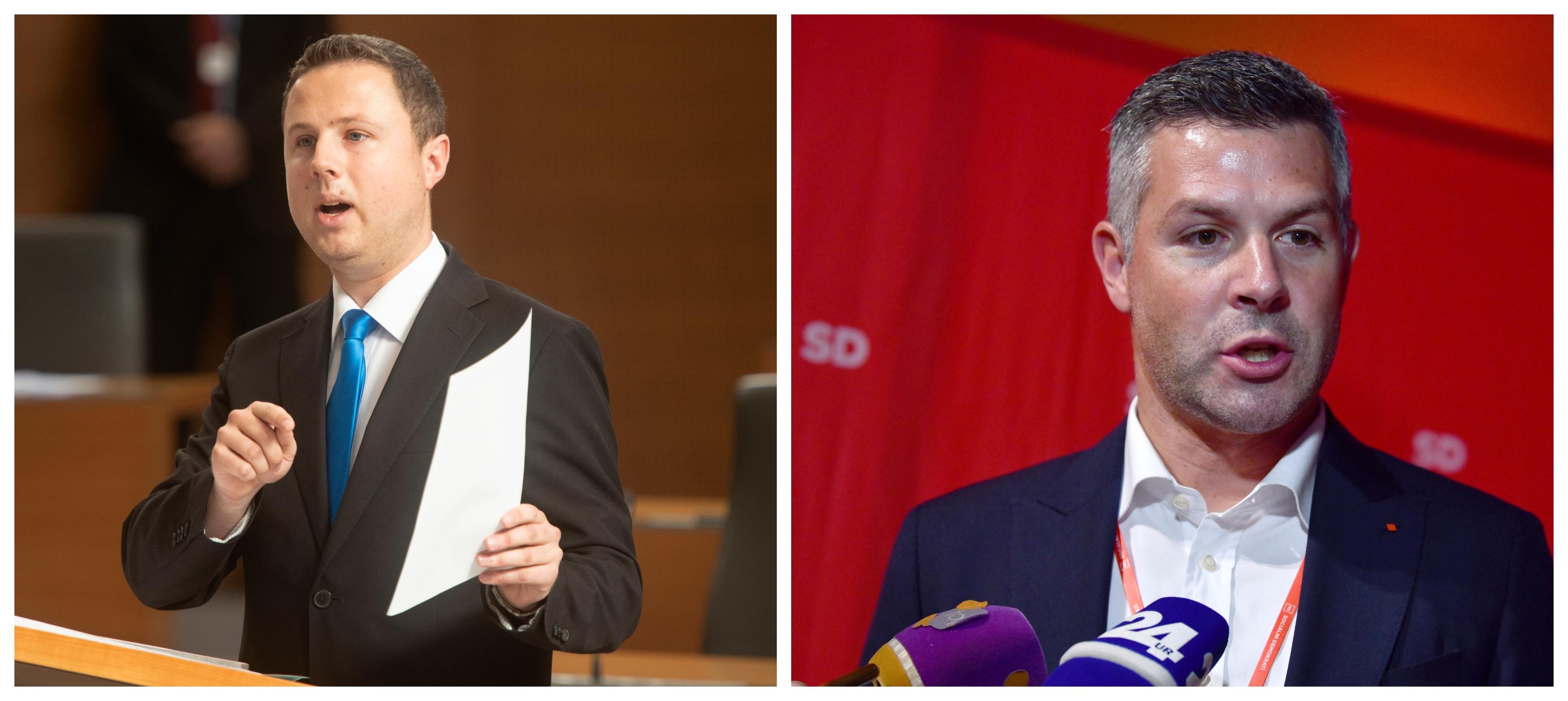Žan Mahnič opozarja na resno povečanje migracij, Matjaž Nemec pa pojasnjuje, da se težave glede migracij morajo reševati v državi izvora. (Foto: STA)