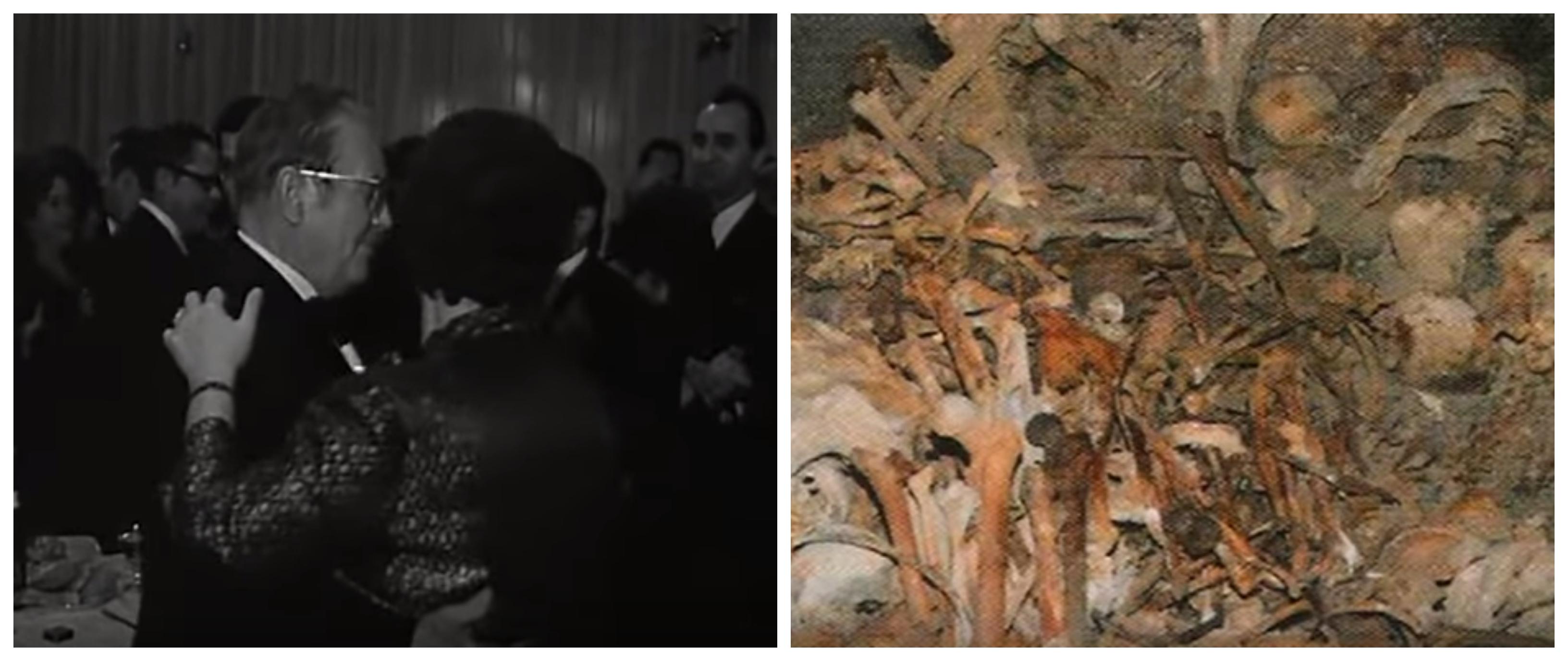 Na levi strani Josip Broz Tito s svojo Jovanko, na desni slika iz Hude jame. (Foto: Youtube)