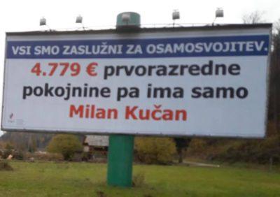Plakat, ki ga lahko vidite na avtocesti iz smeri Ljubljane proti Mariboru. Milan Kučan kljub zavajanjem stane slovenske davkoplačevalce na mesec 4779 evrov. (Foto: Twitter)