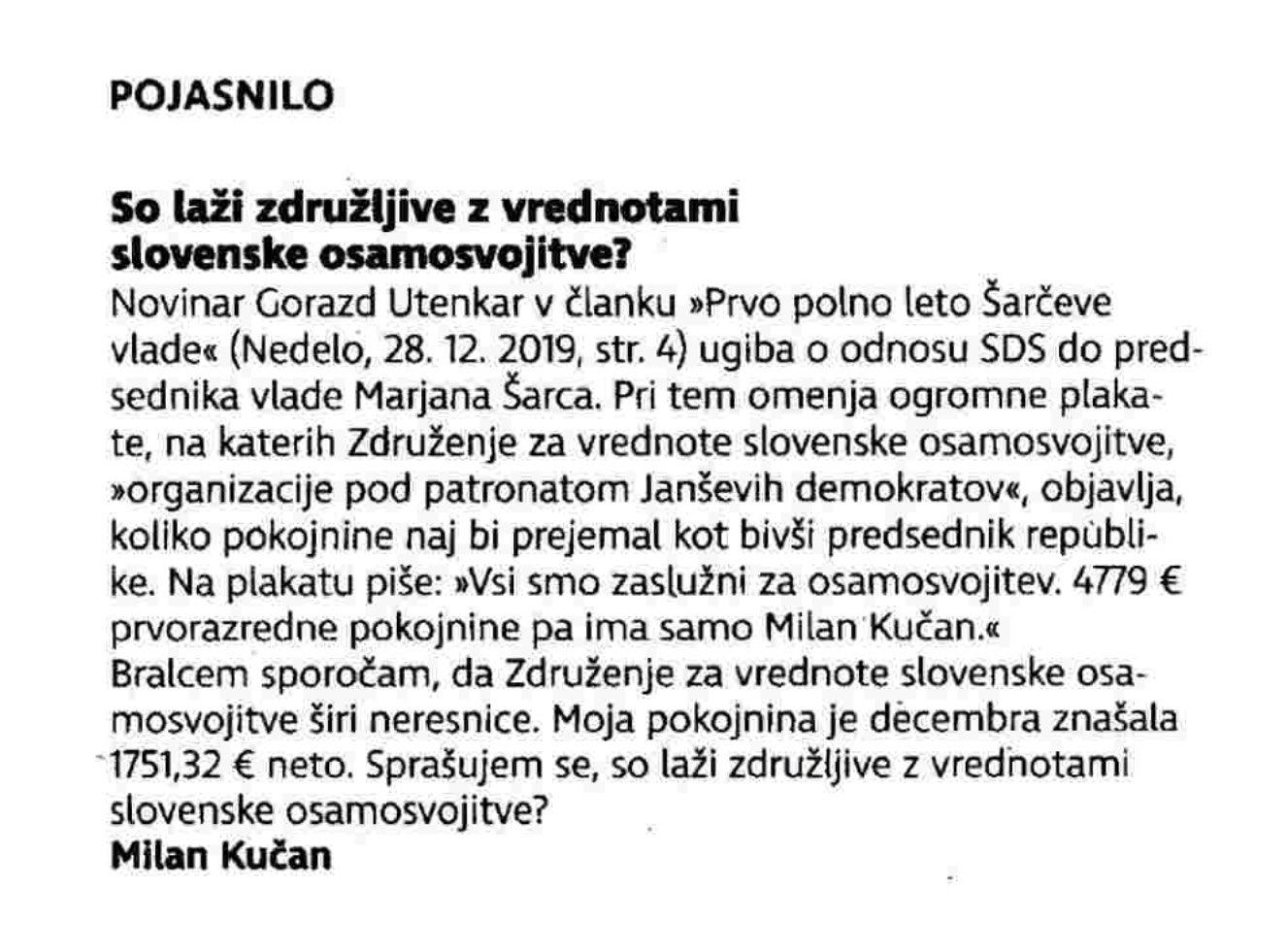 Zavajajoči odgovor Milana Kučana iz časopisa Nedelo. (Foto: Twitter)